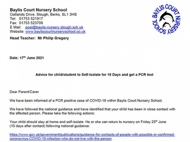 Letter for parents and carers of children identified as a close contact at the nursery