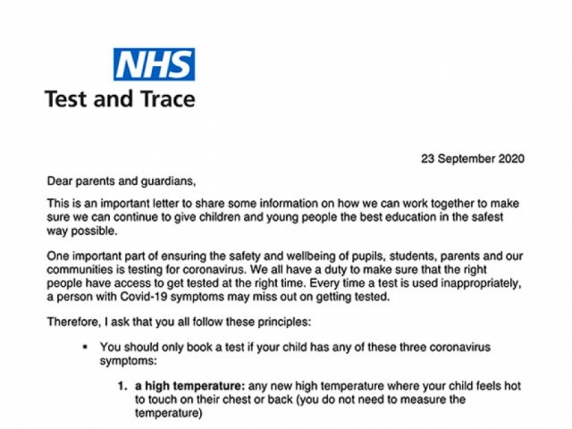 Covid-19: Test and trace - Letter to Parents and Guardians.