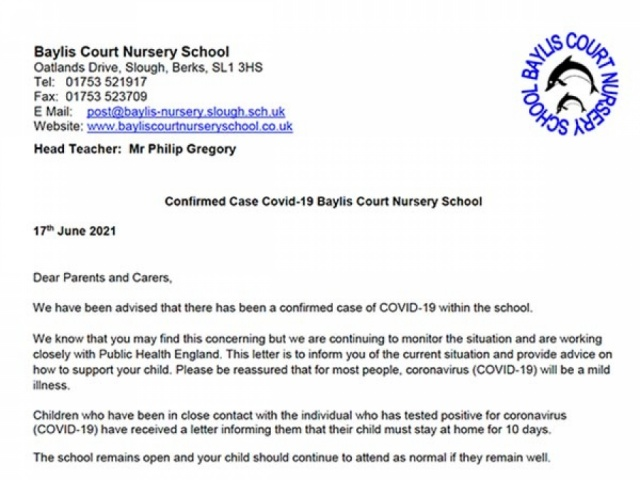 Letter for parents and carers notifying a confirmed case of Covid-19 at the nursery
